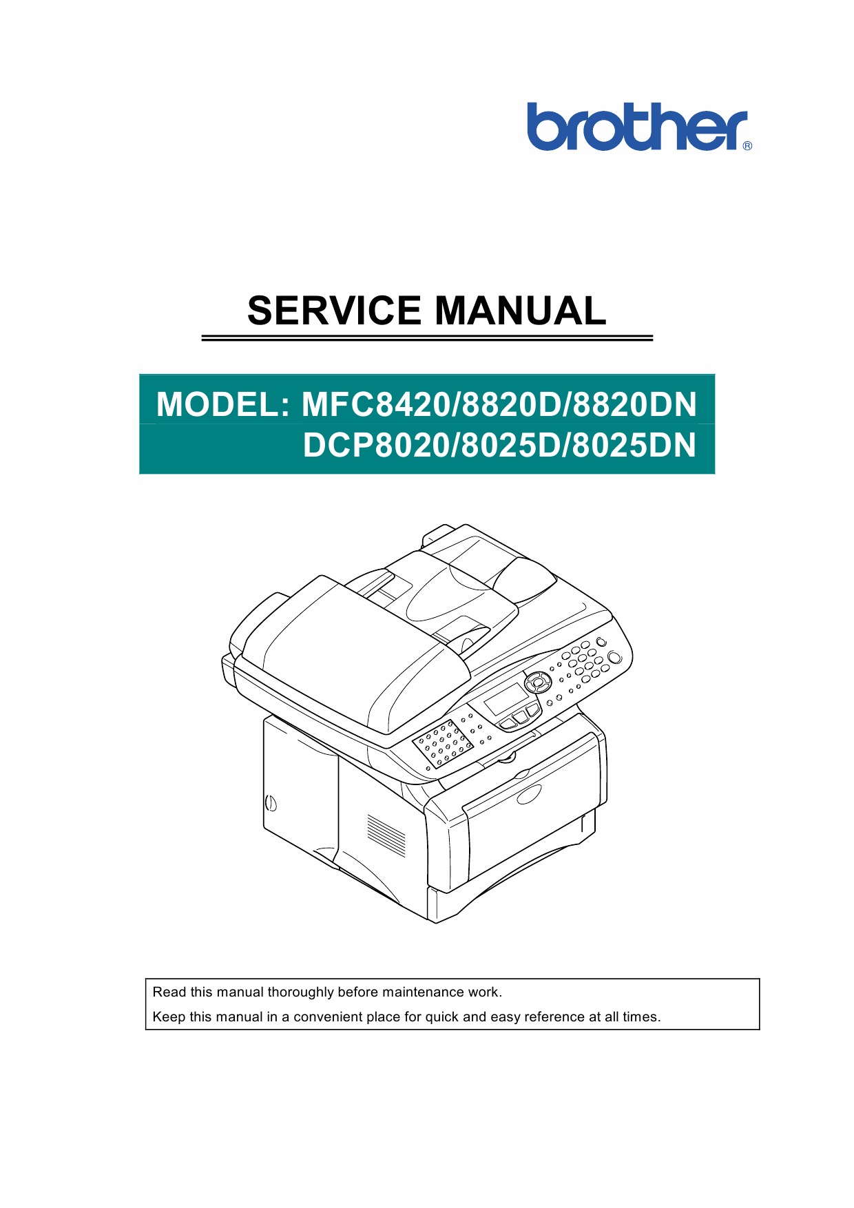 Brother MFC 8420 8820D 8820DN DCP8020 8025D 8025DN Service Manual-1